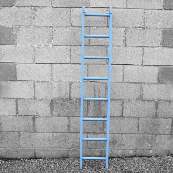 Rustic Painted Blue Ladder Vintage Towel Rail Blanket Wall Rack