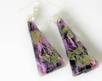 Purple Azalea Petals,  Real Flower Earrings,  Pressed Flower Jewelry,  Resin (3114)