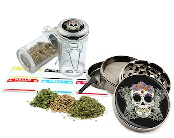 "Sugar Skull - 2.5"" Zinc Alloy Grinder & 75ml Locking Top Glass Jar Combo Gift Set Item # G021615-027"