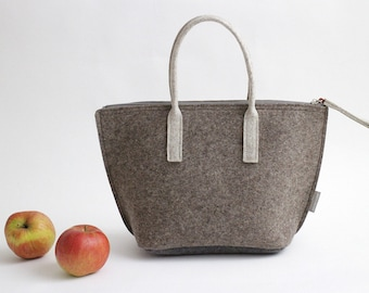 Brown Lunch Bag with Water-resistant Inner Bag/ Felt Tote / Felt Handbag / Lunch Tote/ Adult Lunch Bag