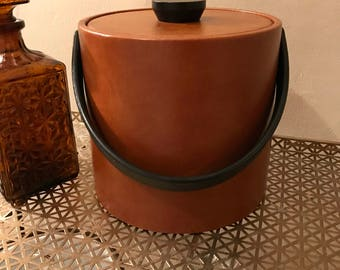 Faux leather ice bucket