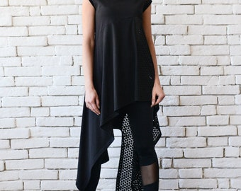 NEW Asymmetric Black Tunic/Extravagant Long Short Top/Half Mesh Black Top/Sleeveless Casual Tunic/Loose Black Shirt/Fishnet Detail Tunic Top