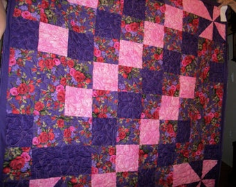 Purple and Pink Pinwheel Large Lap Throw