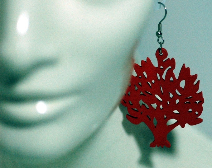 Red Tree of Life Earrings Christmas Gift Ready to ship For women teens and girls