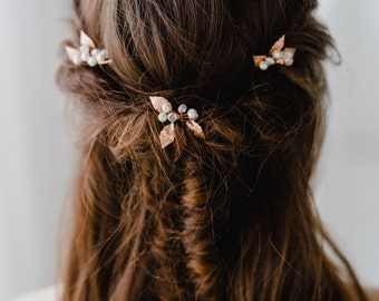 Rose Gold Hair Pins | Leaf Hair Pin | Bridal Hair Pin | Set ofRose Gold Hair Pin | Rose Gold Leaf Headpiece | Rose Gold Lucy Hair Pin