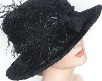 Ladies Fleece Hat - Wide Brim Edwardian Style -  Titanic Hat - Black with Silk Velvet Flower - MIllie