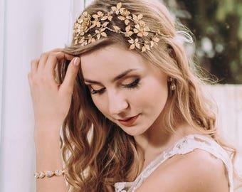 Wedding hair piece, floral bridal hair piece, floral headband, floral hair vine, floral head piece wedding, bronze wedding hair accessories