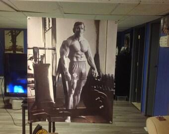 Huge! 42x35apx.  PUMPING IRON Arnold Schwarzenegger Vinyl Banner Poster Bodybuilding UFC lee haney flex wheeler phil heath generation iron