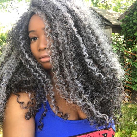 Essence Wigs BIG GRAY Wig Kinky Curly Natural Hair Wig Salt n Pepper