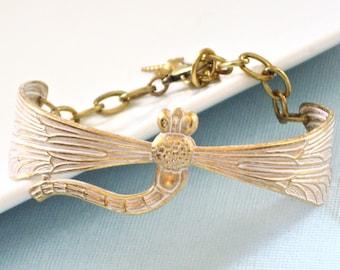 White Dragonfly Bracelet Cuff - Brass,  Jewelry, Dragonfly Jewelry, Nature Jewelry, Cuff Bracelet, Gold