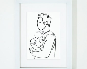 Father And Son, Illustration Kids Art Print, Kids Room decor, Nursery, Baby, Wall Art, Fathers Day Gift, Fathers Day, Dad, Father, Papa