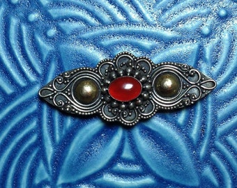 Vintage sterling silver brooch, carnelian pin, mixed metal pin