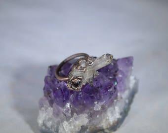 California Smoky Quartz Cluster,Nevada Garnet,Copper Electroformed Ring,Raw Organic Gem,boho,Smoky Crystal Ring,Unique,Gemstone Ring,Size 6
