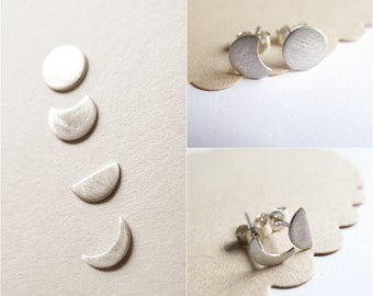 Single Moon Phase Sterling Silver Stud
