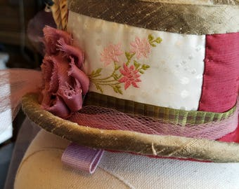 Pink Flowers Mini Top Hat