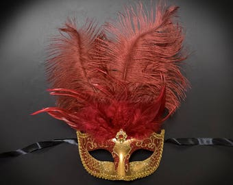 Masquerade Mask, Feather Masquerade Mask, Feather Masks, Mardi Gras Mask, Mardi Gras Masks, Masquerade Ball - Burgundy/Gold