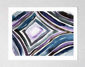 Fine Art Giclée Print - Diamond - Abstract Art - Linear - Watercolor