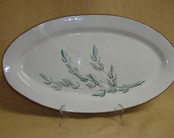 Platter Glazed Clay Hand Painted Artisan Studio Pottery