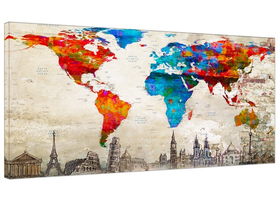 World Push Pin Travel Map canvas wall art  print World Push Pin Travel Map large  decor World Push Pin Travel Map print