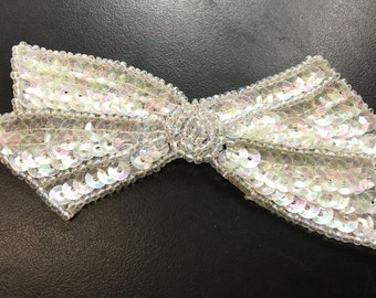 "Choice of Color Bow Applique, Sequin Beaded, 4"" x 2""   -White-  1299, Iridescent, Cream - 1229"