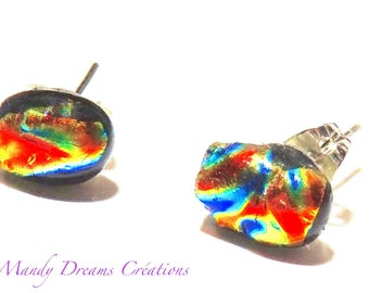 Multicolor dichroic glass chips on silver, luminous, handmade, single piece