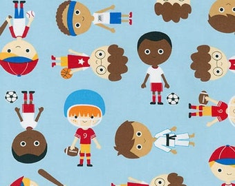 Sports Kids in Park by Ann Kelle for Robert Kaufman Fabrics