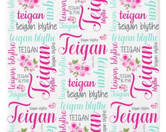 Personalized Baby  Blanket, Girl,  Baby Name Blanket,  Personalized Swaddle Blanket,