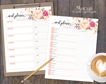 Two Printable MEAL PLANNER Sheets, Shopping List, personal or family Weekly Meal Planner, instant digital download, ArtCult printable goods