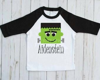 Frankenstein Shirt,Boys Halloween shirt, Halloween Design, Raglan tshirt, Kids halloween Shirts, Funny Halloween tshirt, sibling halloween