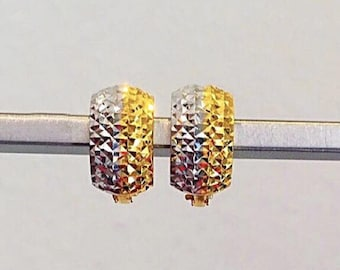 7mm Diamond cut 2 tones Solid 22k gold purity earrings 916 gold