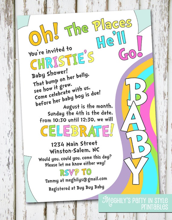 Oh the places youll go baby shower invitation like this item filmwisefo Choice Image