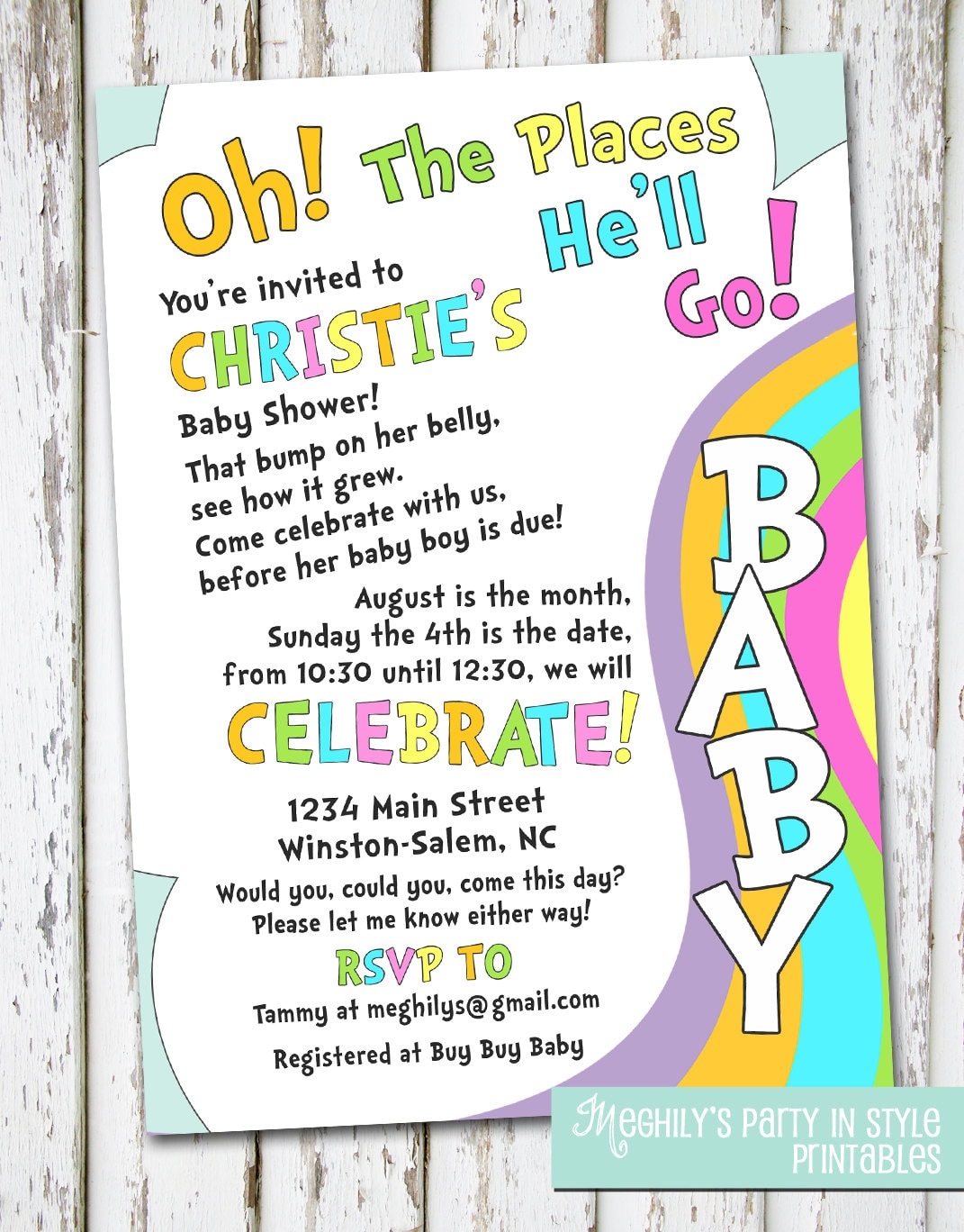 Oh The Places You\'ll Go baby shower invitation