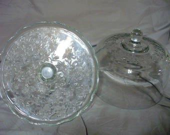 Princess House Fantasia Glass Cake Plate with Dome