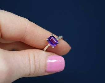 Amethyst Ring, Amethyst 8x6mm Octagon Faceted Stone, set in .925 Sterling Silver.