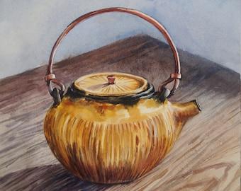 Teapot Original Watercolor, Still life Painting, Original Watercolor Painting,Wall Art, Original Watercolor, Teapot Painting, Still Life Art