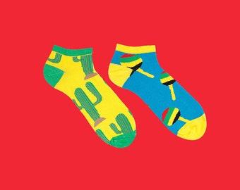 Pueblo short socks, Cactuses Socks, Candy Socks,Summer Socks for Men and Women