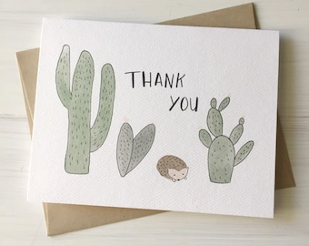 Cacti & Hedgehog - Thank You Card, Cacti Card, Hedgehog Card, Thankful Card, Watercolor Card, Gift for Friend, Cacti Stationery, Hedgehog