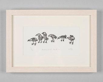 Lino Cut Print - Animated Birds, bird art, handmade, lino, linocut, flock, nature, original, art, black and white, wildlife,