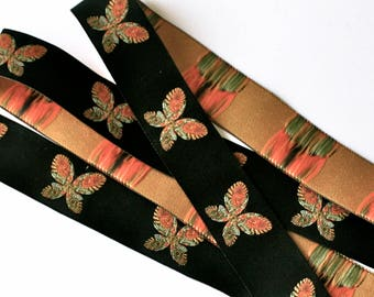 "Woven Ribbon - 1""  Butterfly  in Black, Orange, Green and Yellow"