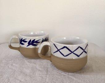 Vintage Mugs, Hand Painted Pottery Mug Set, Made in Japan  Set of 2 Soup Mugs, The perfect friends gift, Coffee Mugs, Large Mugs