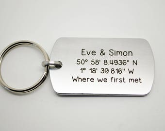 Longitude and Latitude coordinates engraved key ring. Personalised. High quality