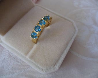 Antique vintage Gold Ring with Topaz Blue stones ring size 8 or Q