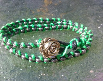 Green, black and gold wrap jewelry