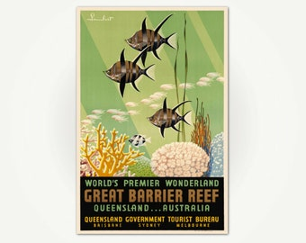 Great Barrier Reef Vintage Poster Print - Mid Century Australia Travel Poster Art