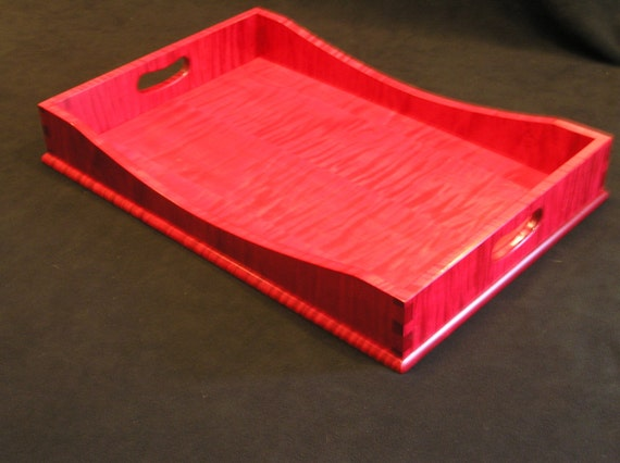 """12"""" x 18"""" Ruby Red Tiger Maple Serving Tray"""