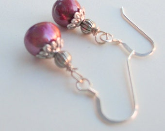 Sterling Silver French Hook  Earrings with Mauve Freshwater Pearls