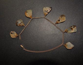7 Polished Stone Pendants (Germany) + Goldtone Chain (Broken)