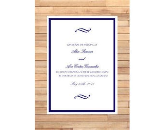 Formal White and Blue Wedding Invitation