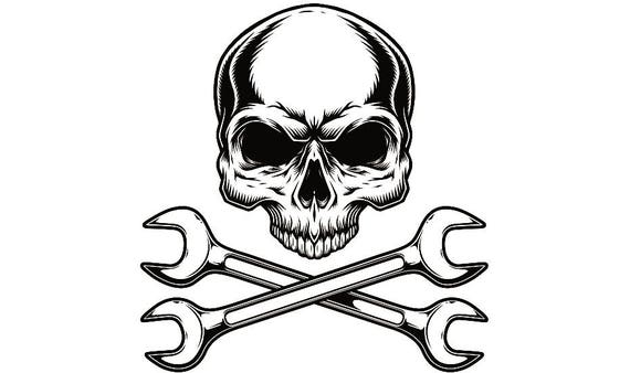 Mechanic Logo 4 Skull Wrench Crossed Engine Car Auto