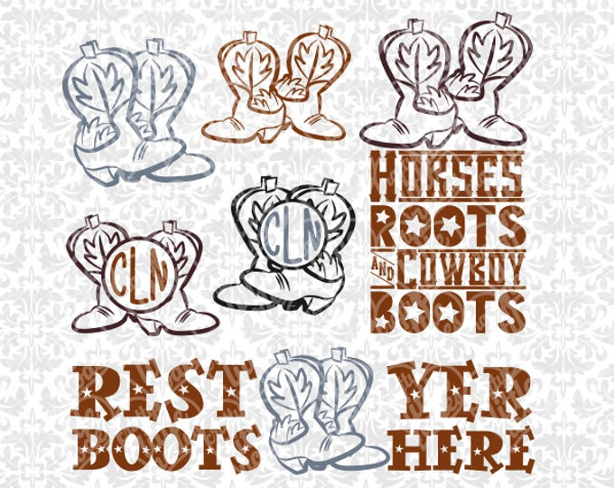 Rest Yer Boots Here, Horses Roots & Cowboy Boots, Monogram Boots Set SVG STUDIO Ai EPS Instant Download Commercial Cutting FIle Silhouette